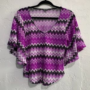 4/$25 Lily Rose Purple Flare Short Sleeve Top M